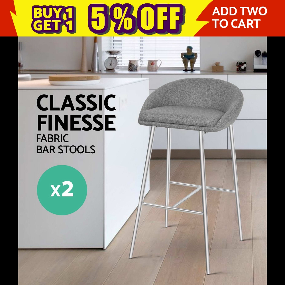 2x Bar stool Fabric Barstool Kitchen Dining Chair Chrome Steel Legs Grey 5902 9350062126233