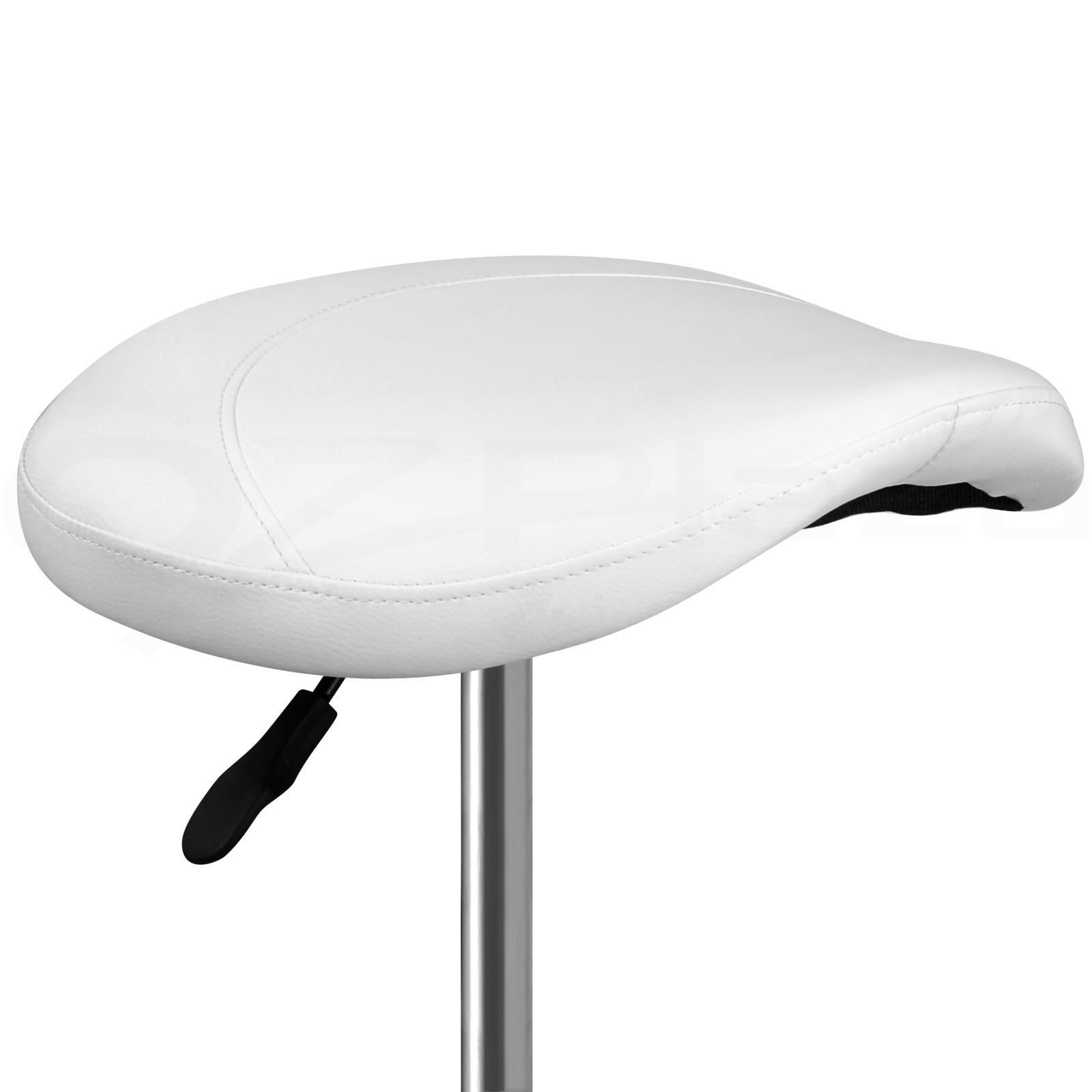 Saddle Salon Stool White Pu Swivel Barber Hair Dress Chair