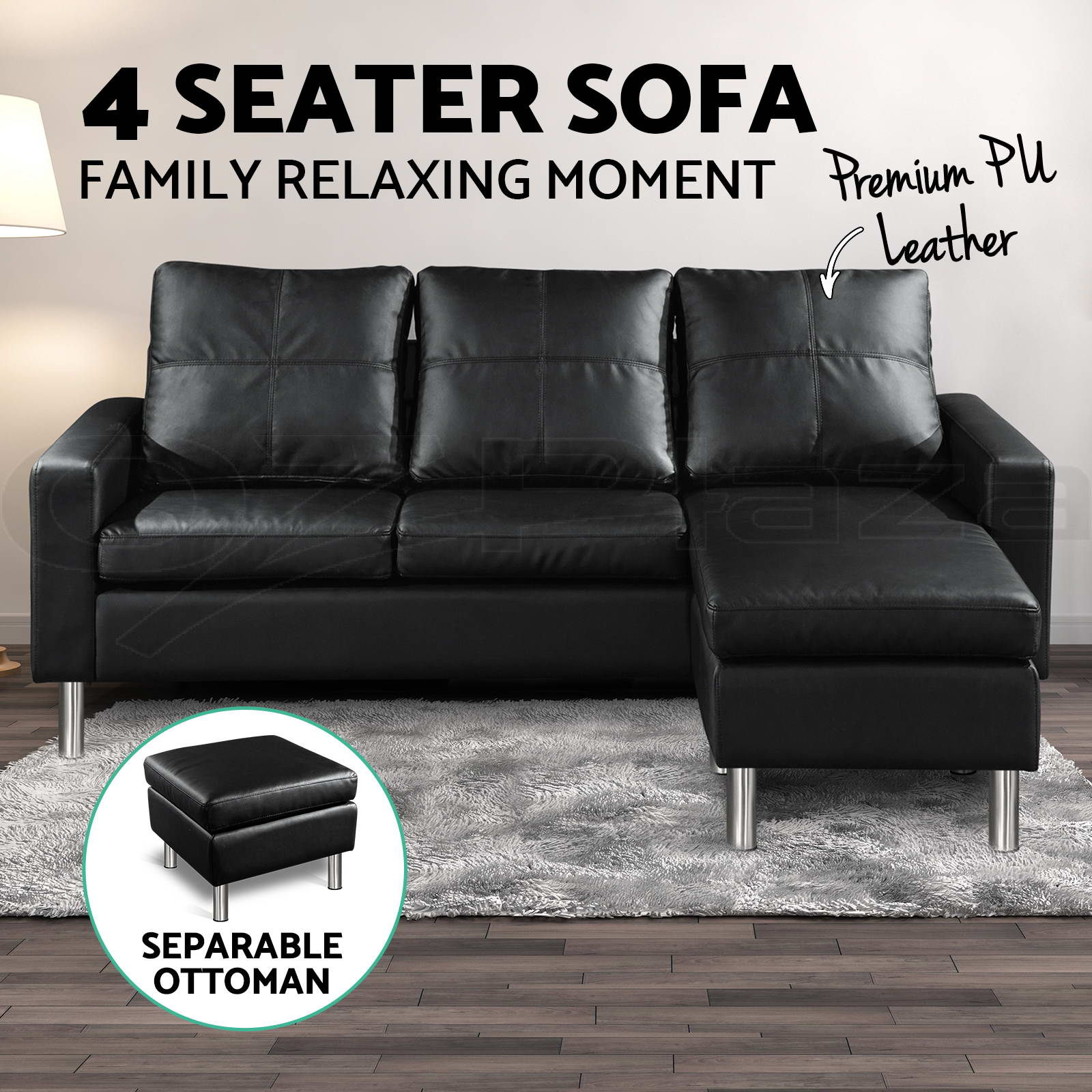 Pu Leather Sofa Modular Lounge Suite Chaise Double Couch 4