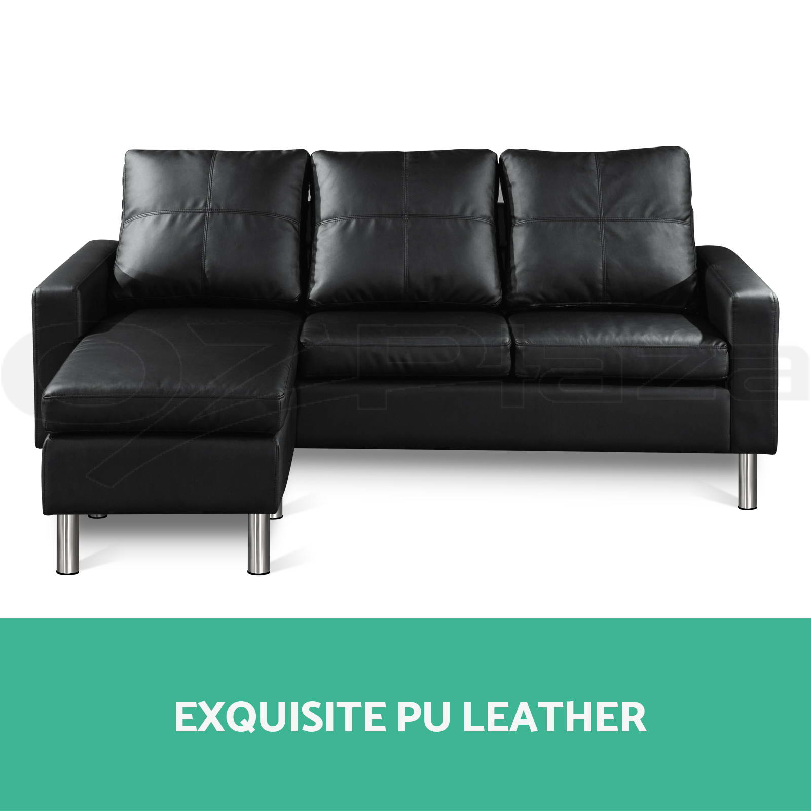 Pu leather sofa modular lounge suite chaise double couch 4 for Chaise leather lounge