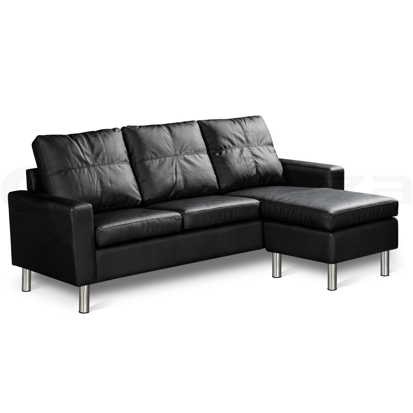 Pu leather sofa modular lounge suite chaise double couch 4 for Black leather chaise lounge sofa