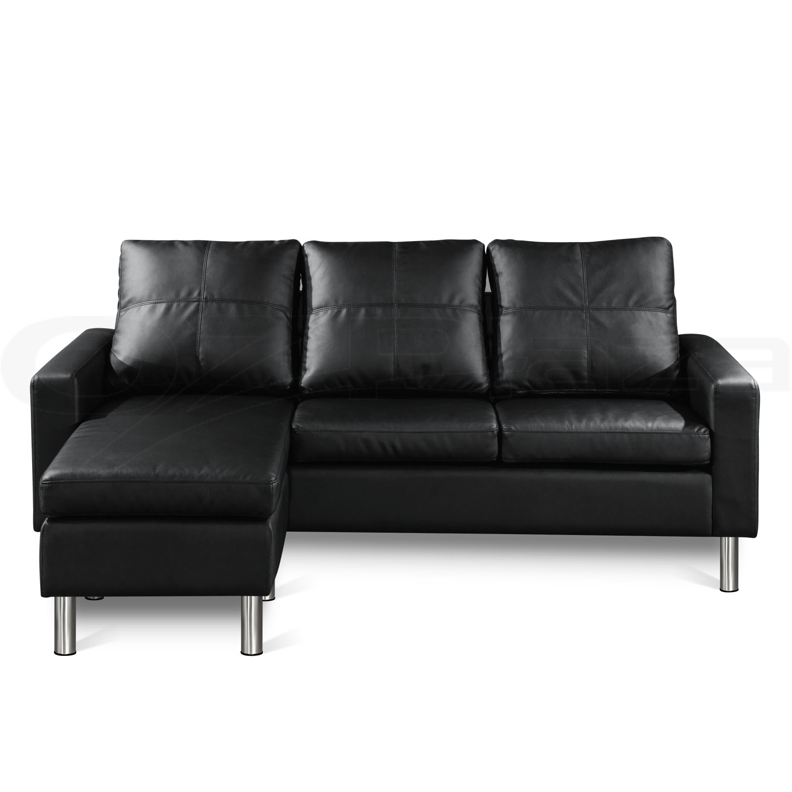 Pu leather sofa modular lounge suite chaise double futon for Black leather sofa chaise lounge