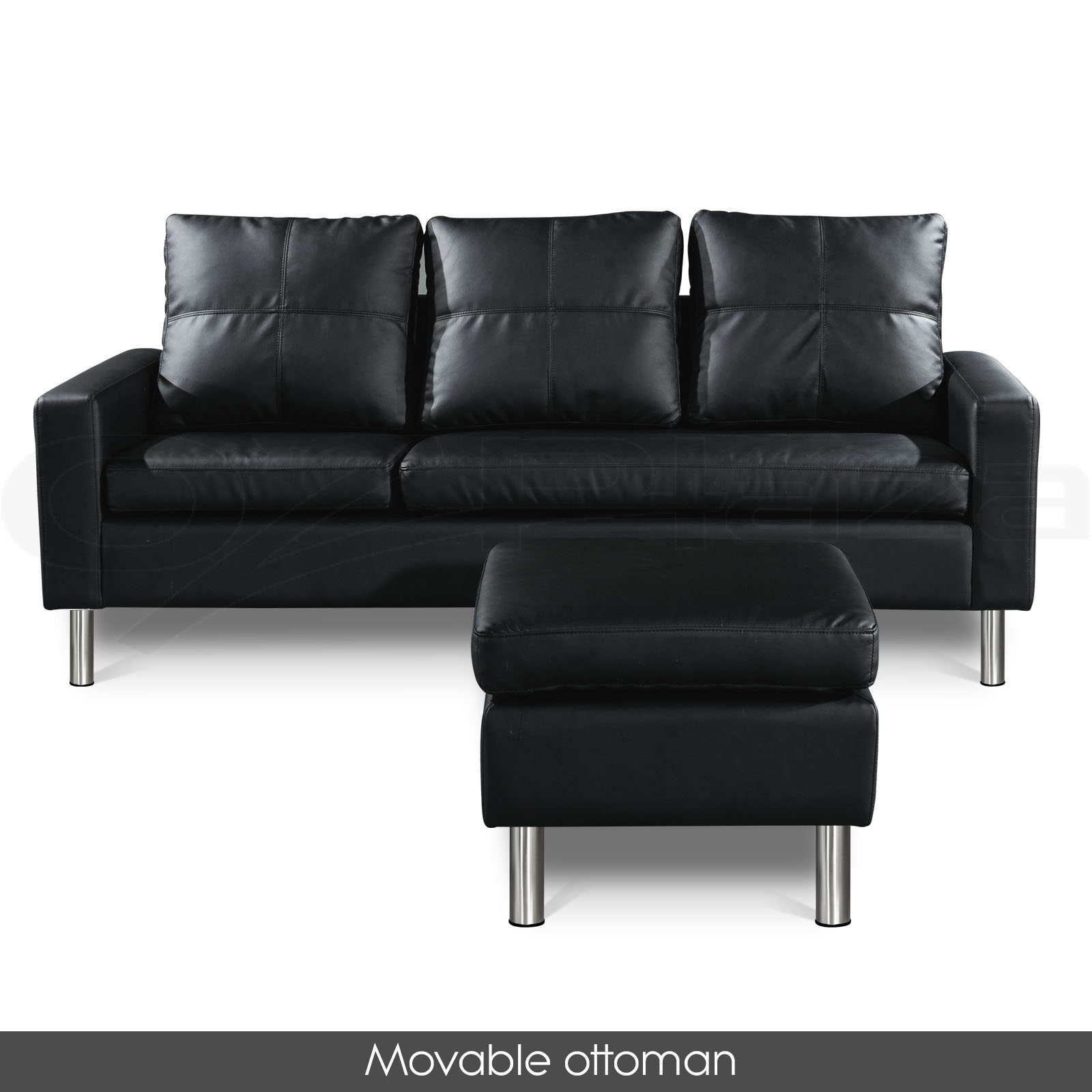 Pu leather sofa modular lounge suite chaise double couch 4 for Black leather sofa chaise lounge
