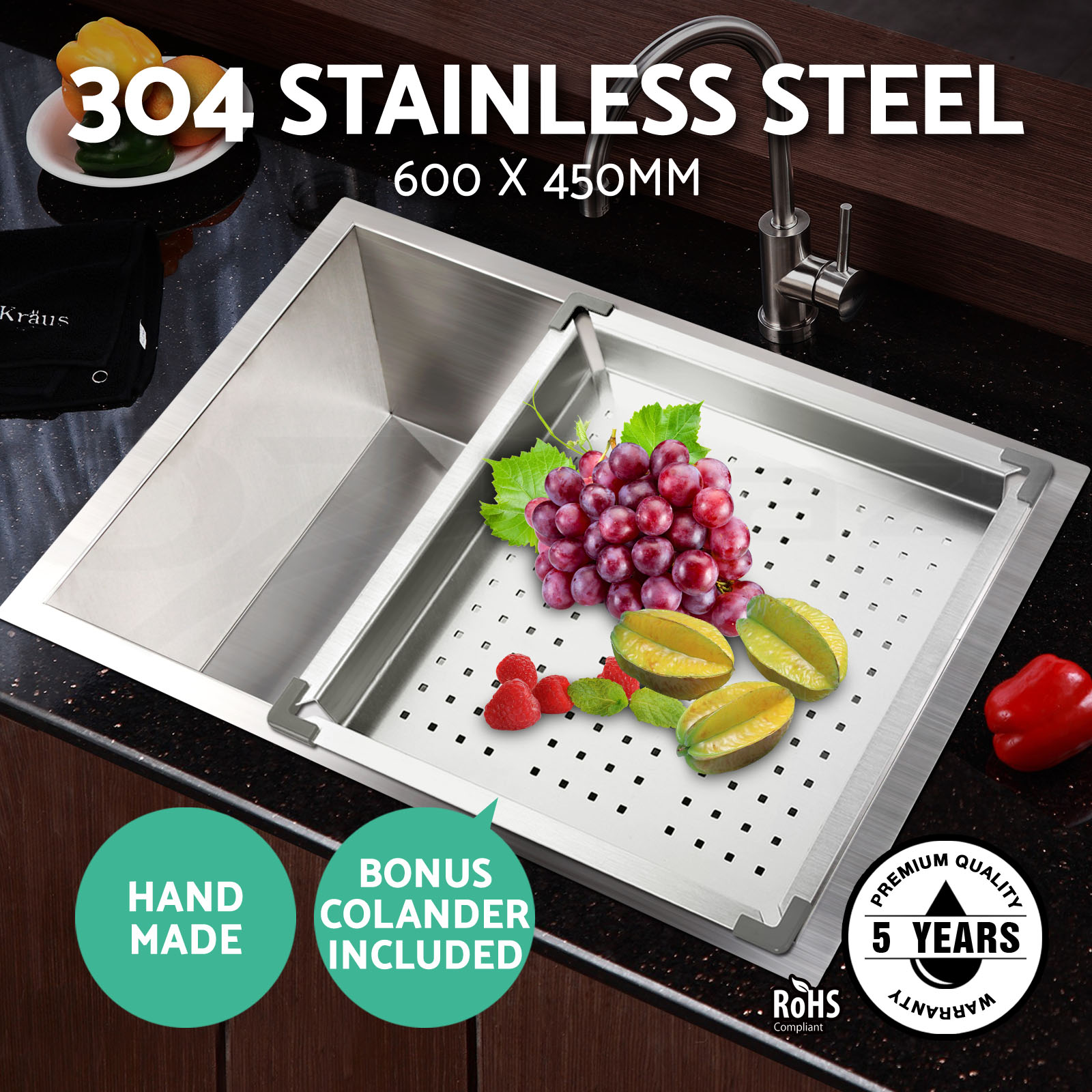 Cefito 600x450mm Stainless Steel Sink Under/Topmount Kitchen Colander Laundry 9350062085530