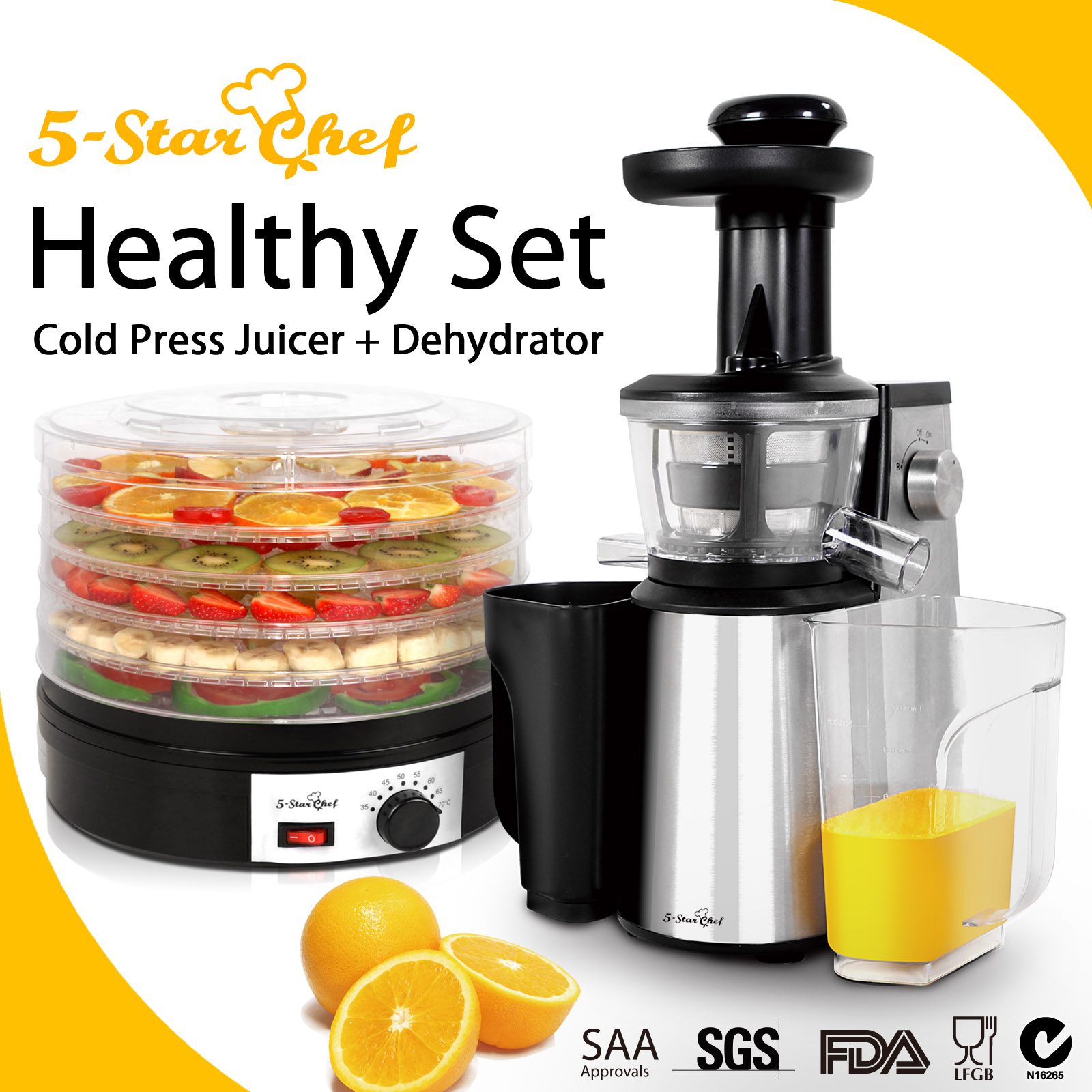 5 Star Chef Cold Press Slow Juicer Reviews : 5 Star Chef Cold Press Slow Juicer Food Dehydrator Fruit vegetable Dryer 5 Tray eBay
