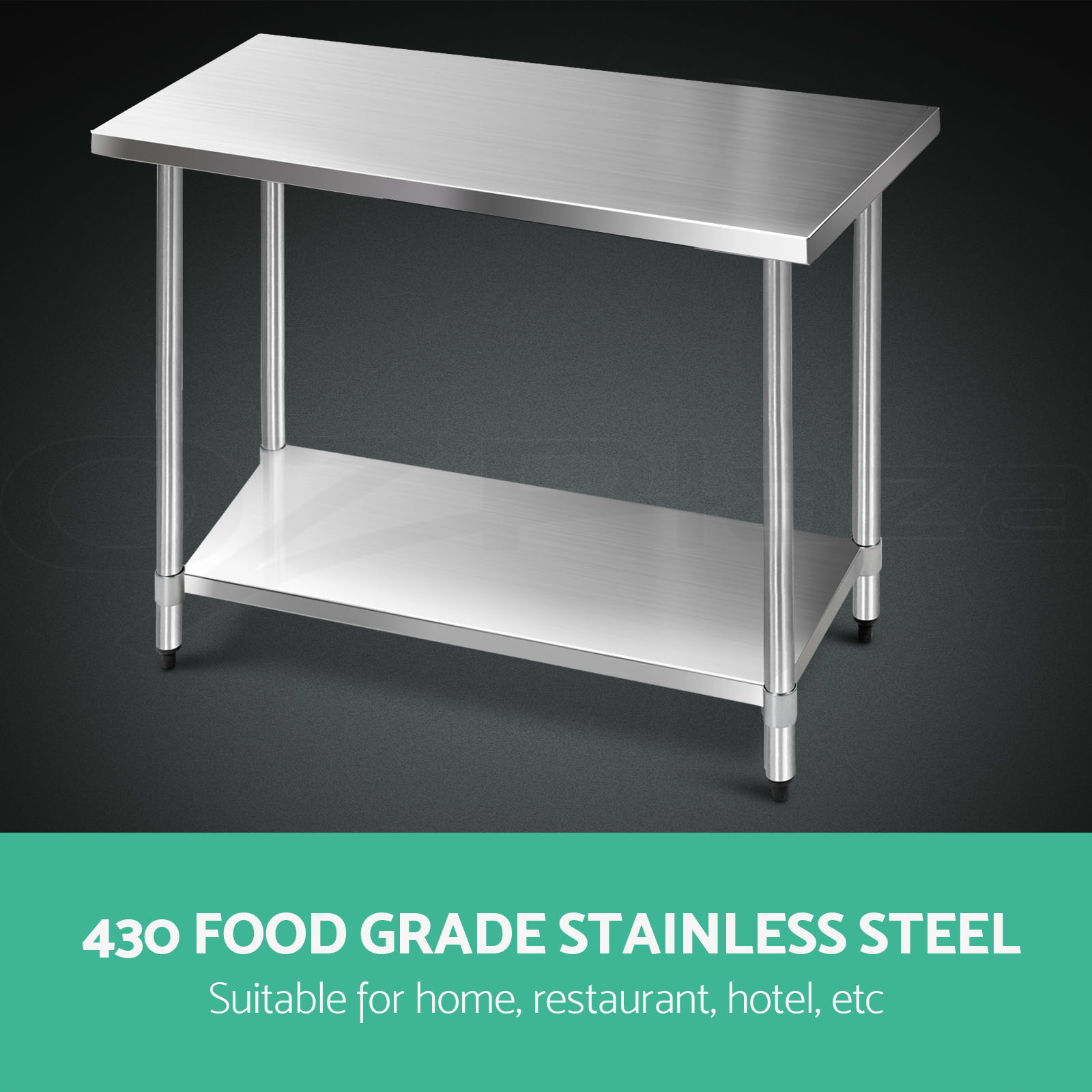 1219x610mm commercial 430 stainless steel kitchen work bench food prep table top ebay. Black Bedroom Furniture Sets. Home Design Ideas