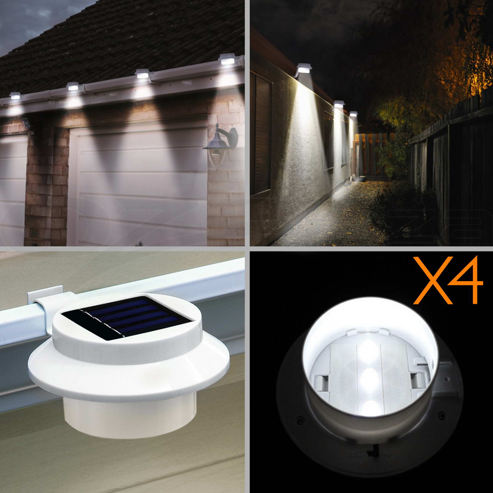 4x 3 Led Solar Powered Gutter Fence Lights Outdoor Garden Yard Wall Pathway Lamp Ebay