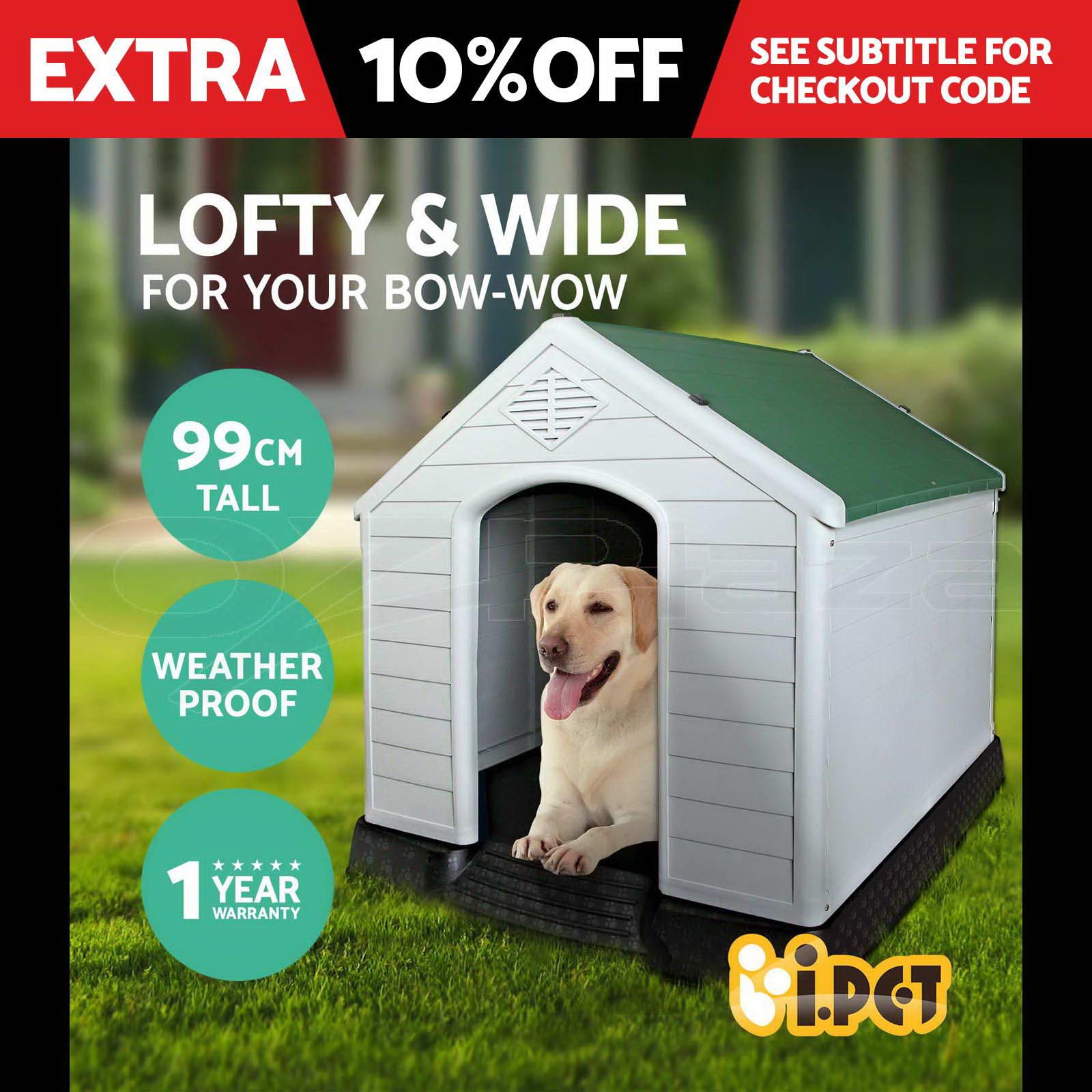 Pet Dog Kennel Weatherproof Plastic Outdoor Indoor Garden House Extra Large GN