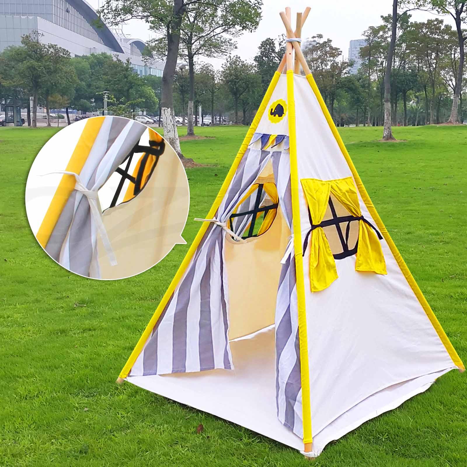 Kids Teepee Tent Children Home Canvas Pretend Play