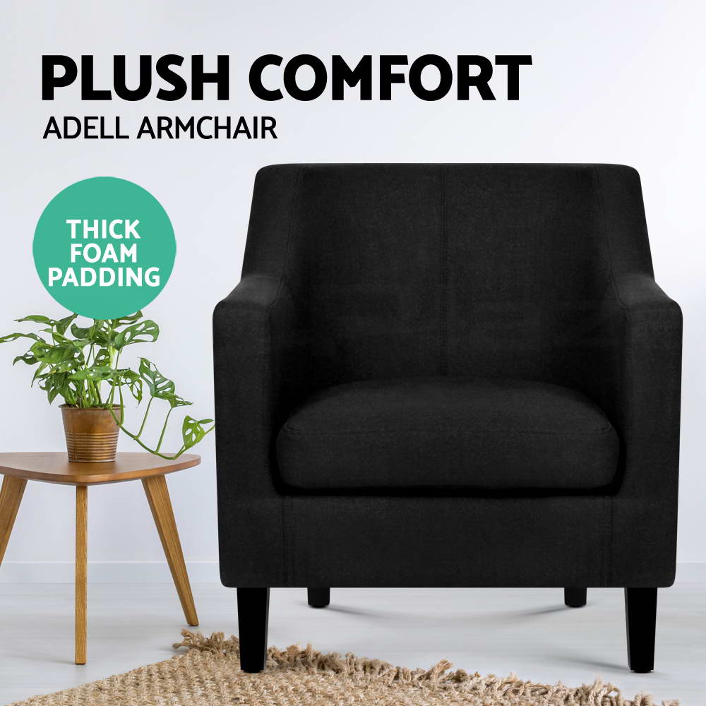 Artiss ADELL Armchair Tub Dining Chair Accent Single Sofa Lounge Fabric Black