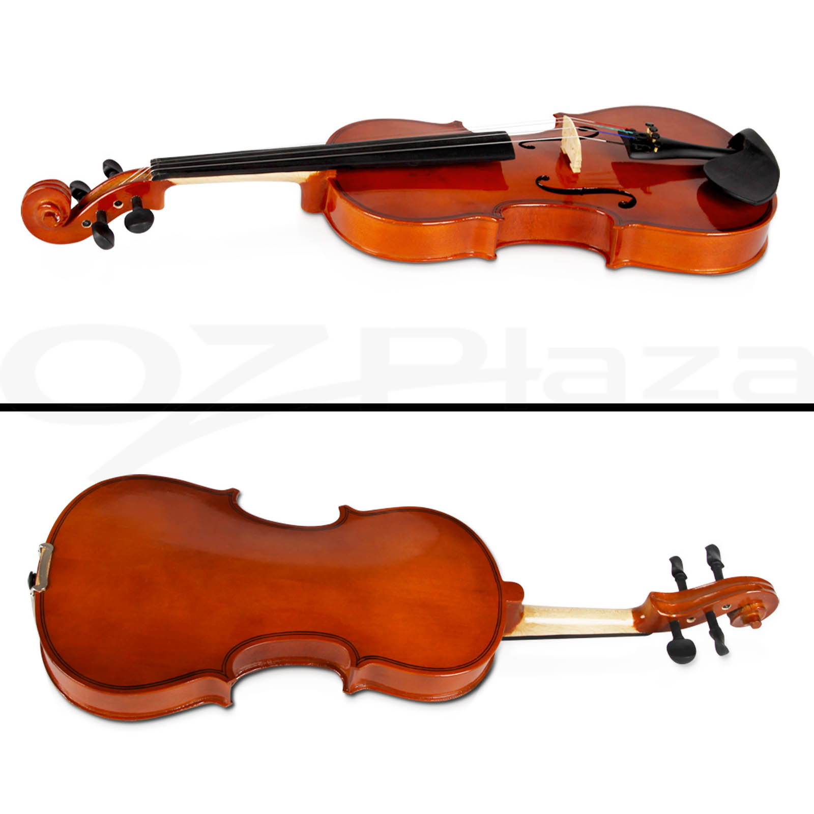Full Size 4/4 Natural Acoustic Wooden Violin Set Bow Rosin Strings ...
