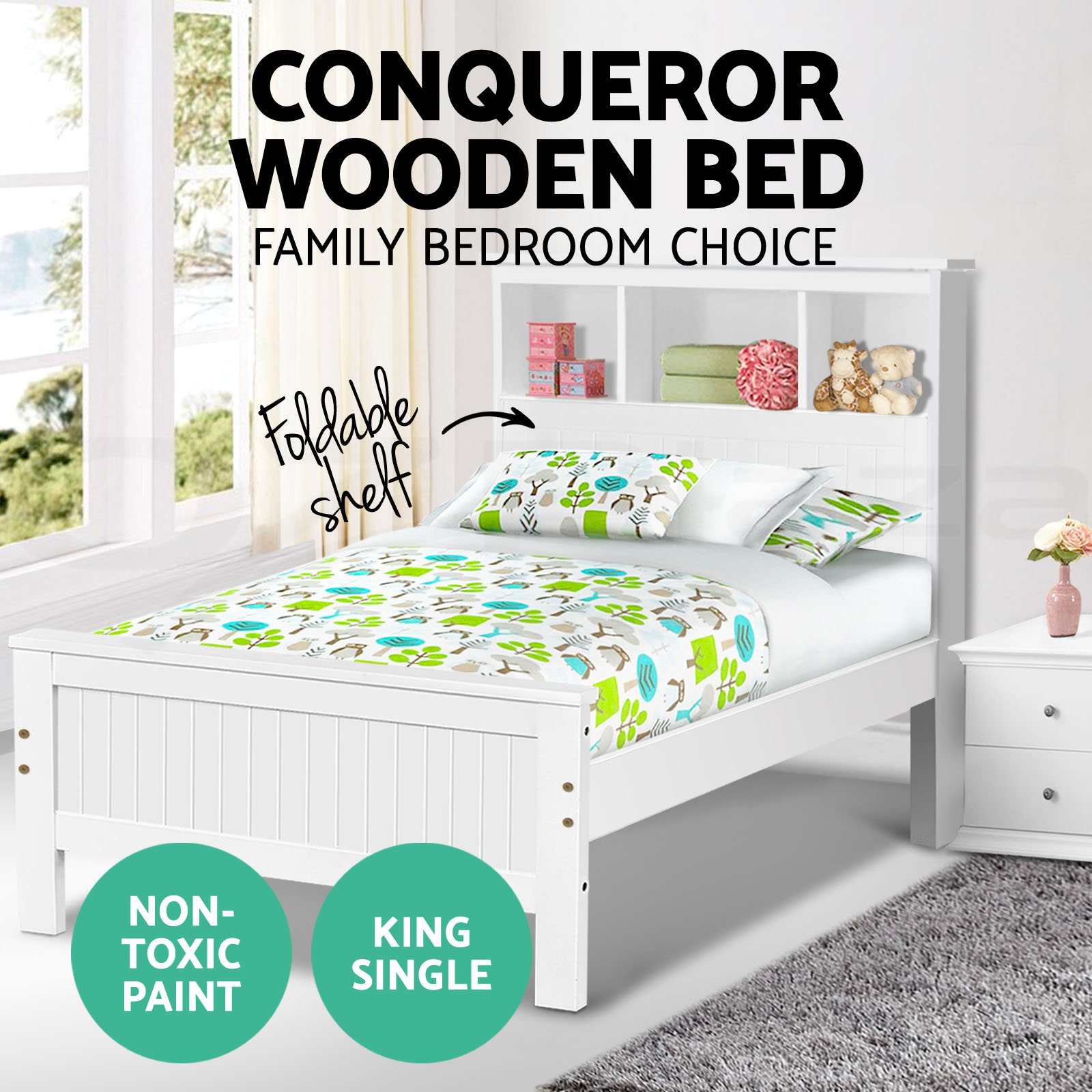 Non Toxic Bedroom Furniture Wooden Bed Frame Conqueror King Single Shelf Bookcase Pine Wood