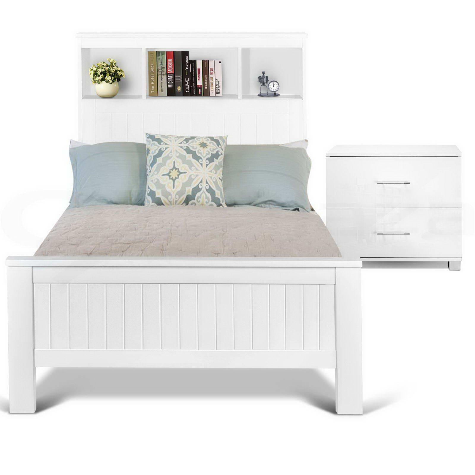 Wooden Bed Frame CONQUEROR King Single Shelf Bookcase Pine