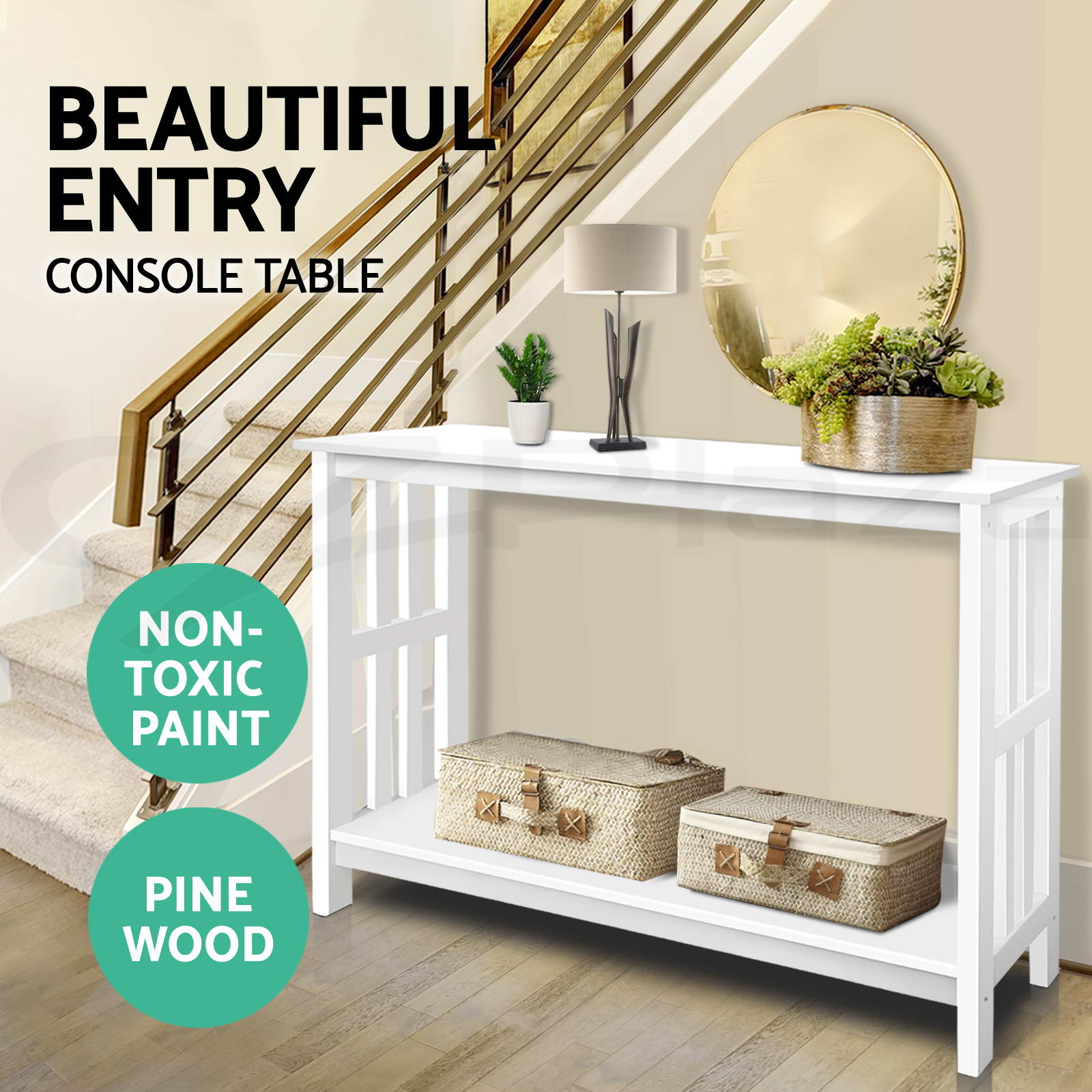 Foyer Table Display : Hall console table hallway side entry display desk timber