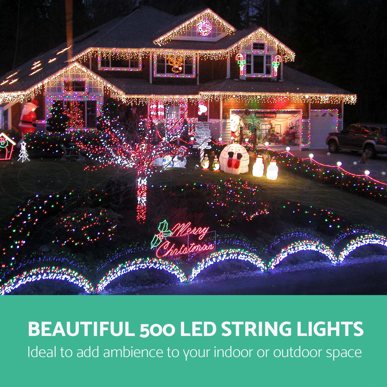 Outdoor Party Lights Screwfix: 500 LED Christmas String Lights Display Outdoor Fairy