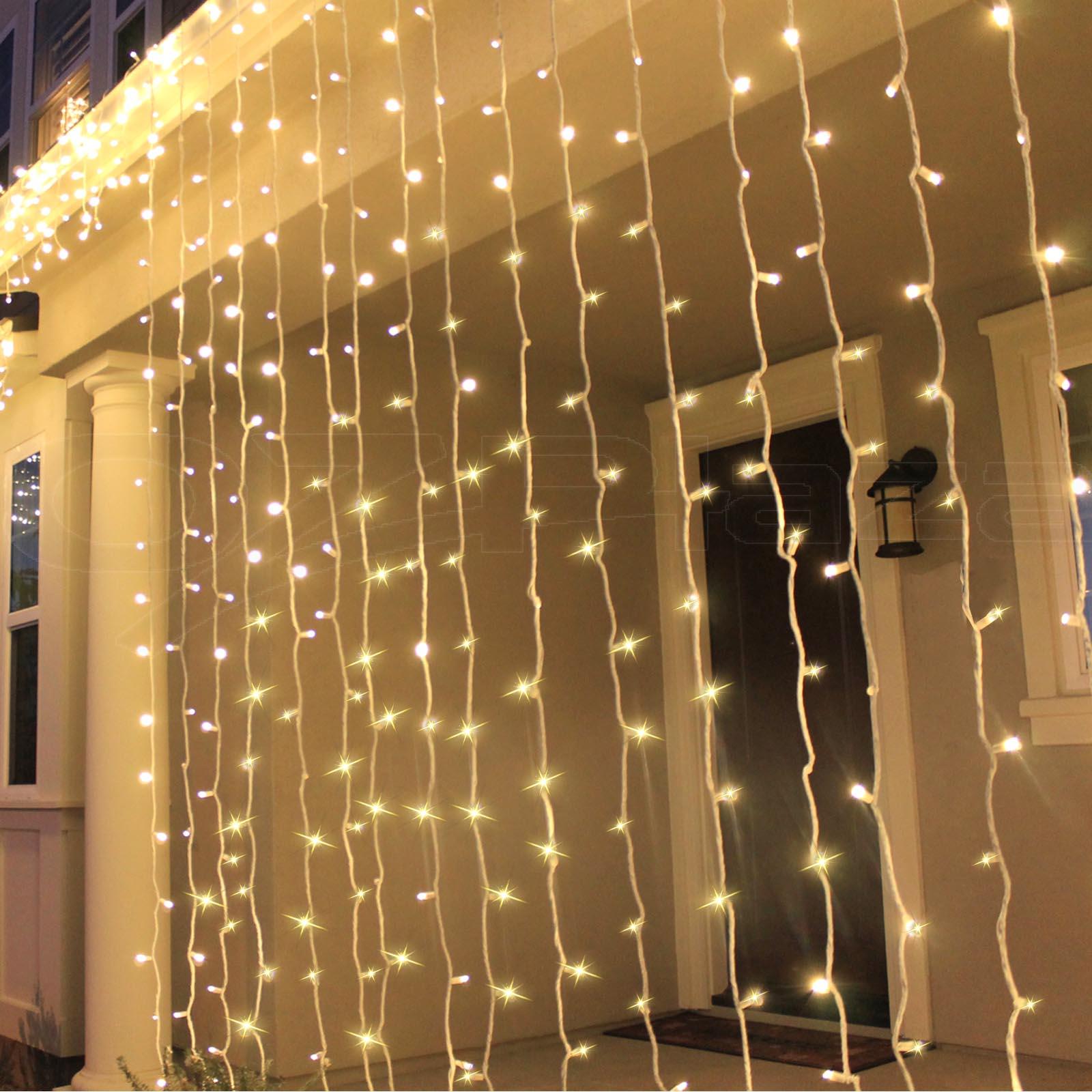 600 Led Christmas Curtain Lights Decorations Outdoor Fair Party Wedding Lighting Ebay