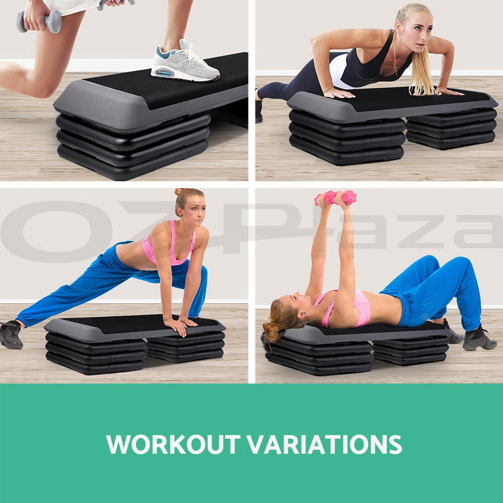 Aerobic Step Exercise Stepper Gym Riser Workout Fitness Cardio Bench Block AU