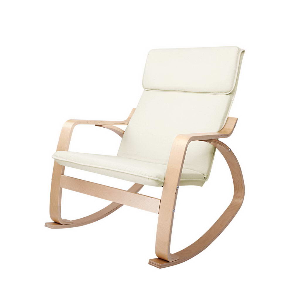Bentwood-ARMCHAIR-ROCKING-SOFA-Wooden-Lounge-Fabric-Cover-Recliner-Adjust