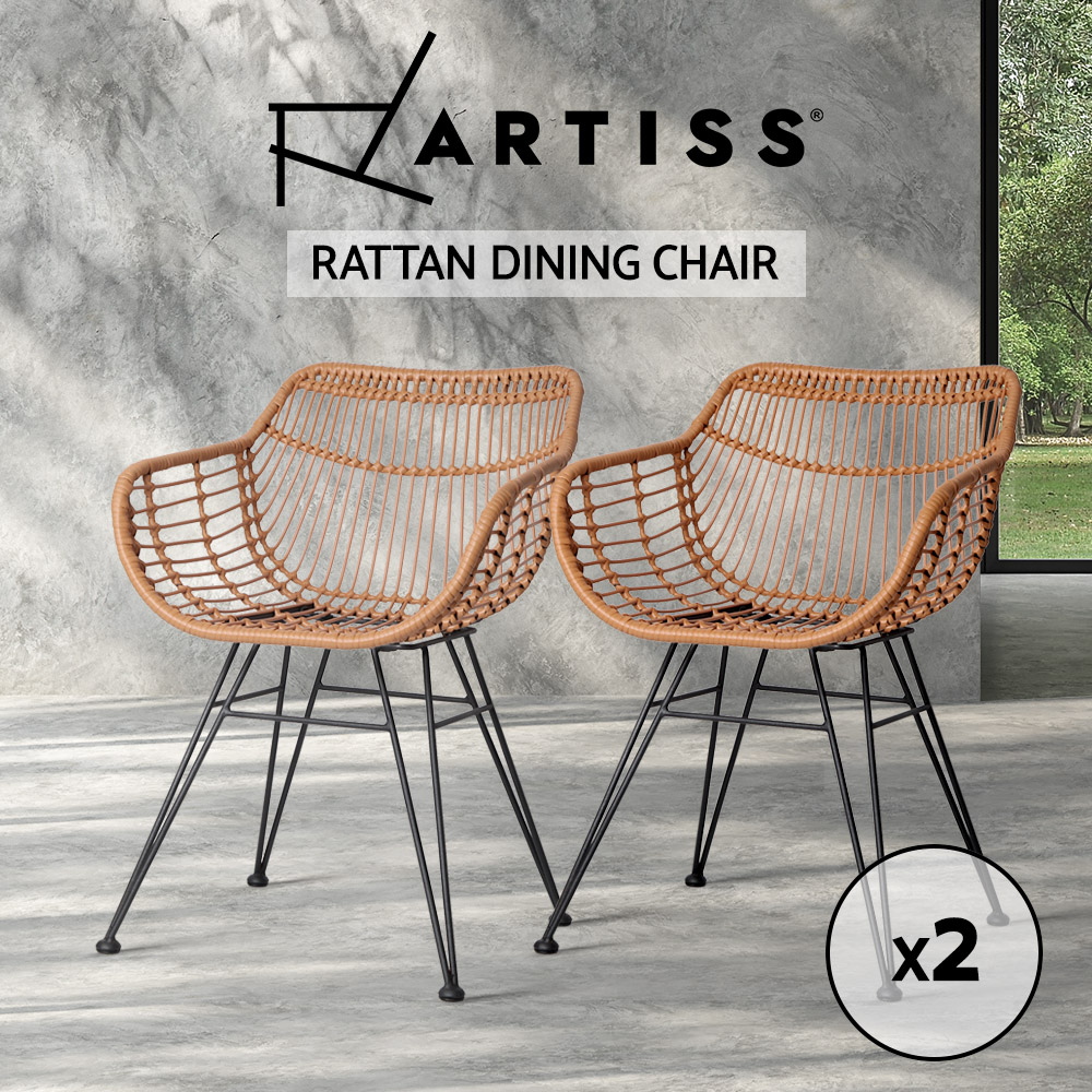 Artiss-2x-Rattan-Dining-Chairs-Outdoor-Furniture-Wicker-Garden-Patio-Cafe-Nature