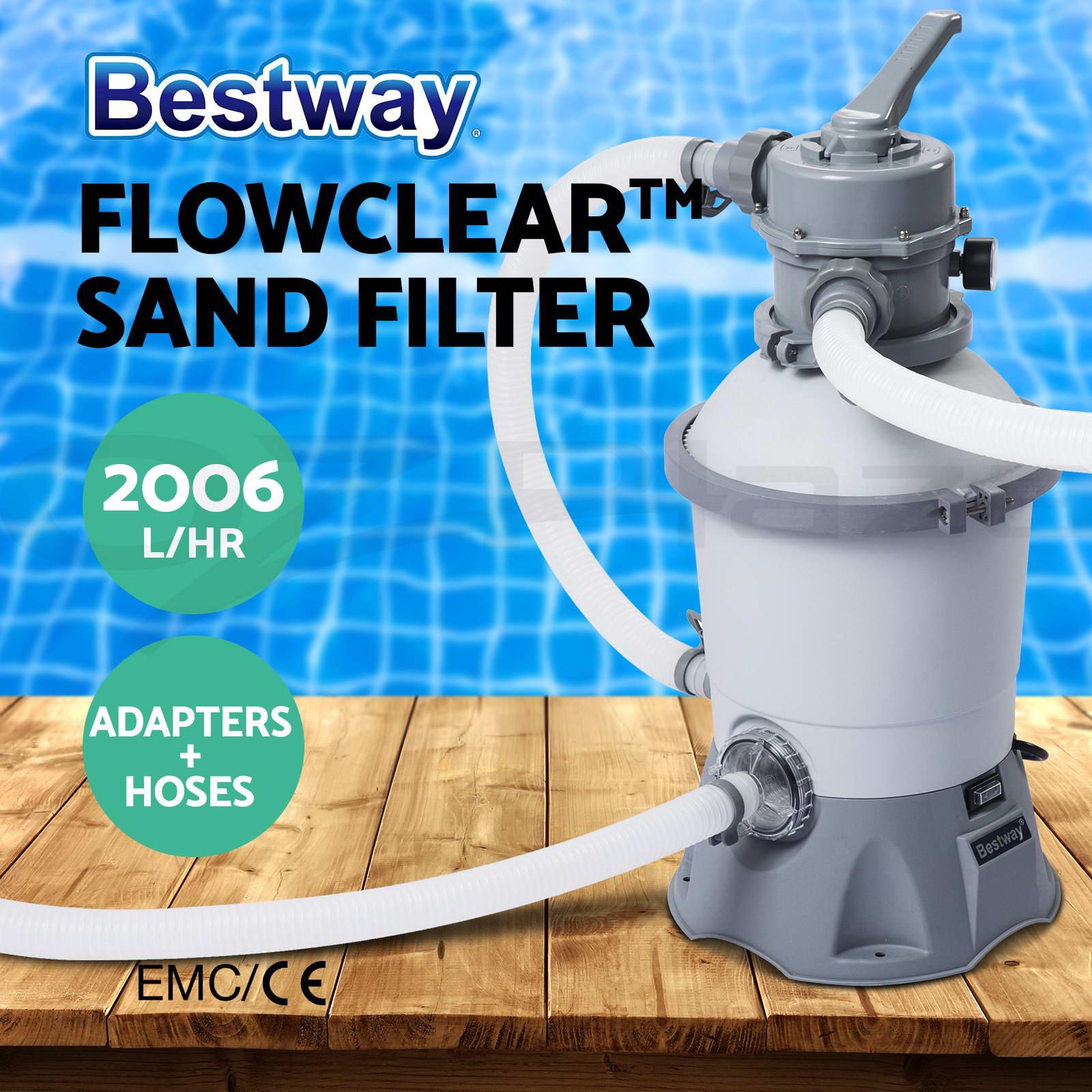 Bestway flowclear filter pump sand filter pool vacuum chlorinator swimming pool ebay for Swimming pool vacuum pump cleaners