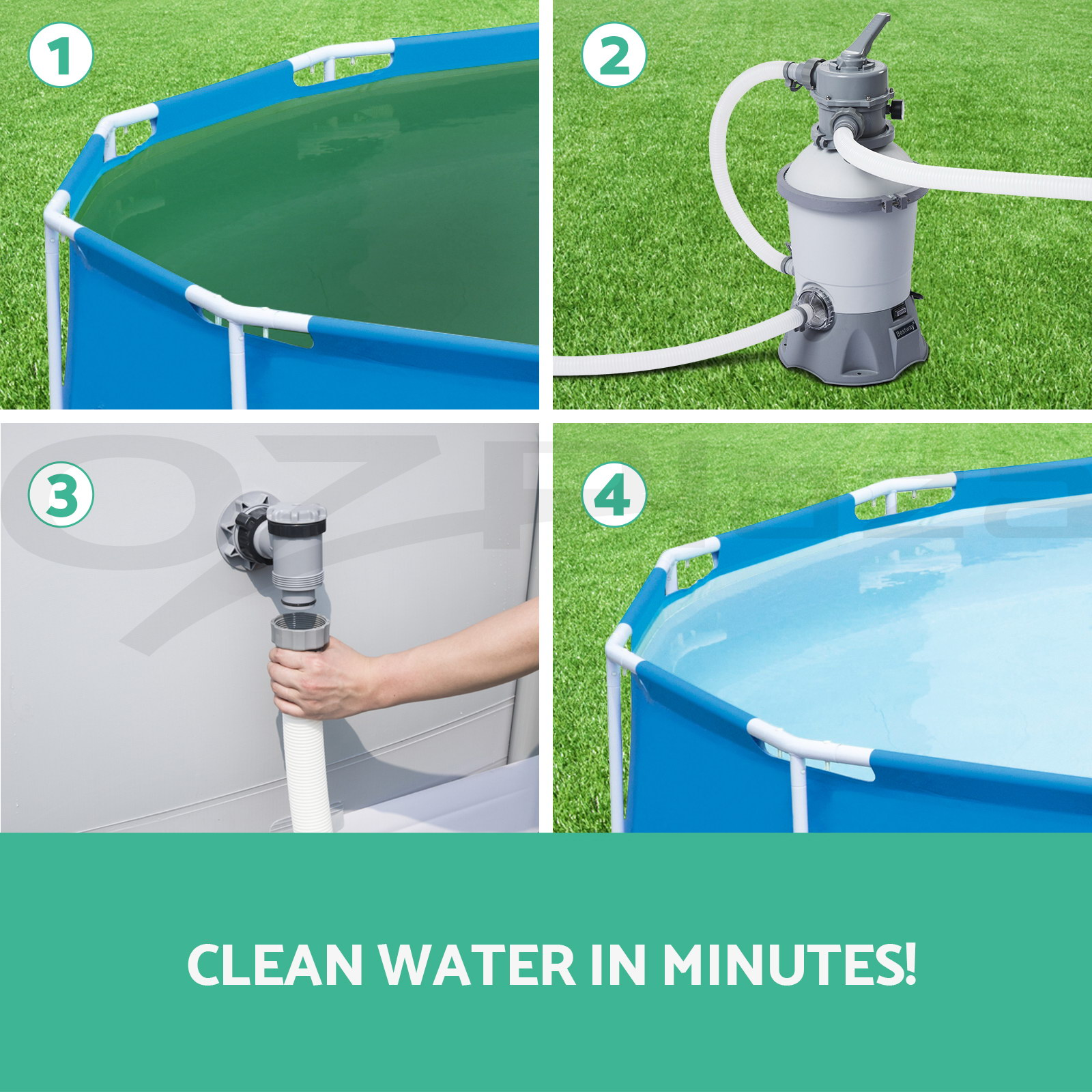 530gph Bestway Flowclear Sand Filter Swimming Above Ground Pool Cleaning Pump Aud