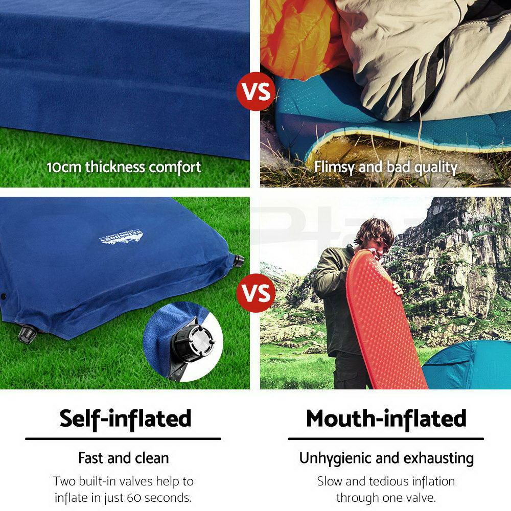 WEISSHORN-Self-Inflating-Mattress-Sleeping-Mat-Air-Bed-Camping-Hiking-Joinable thumbnail 34