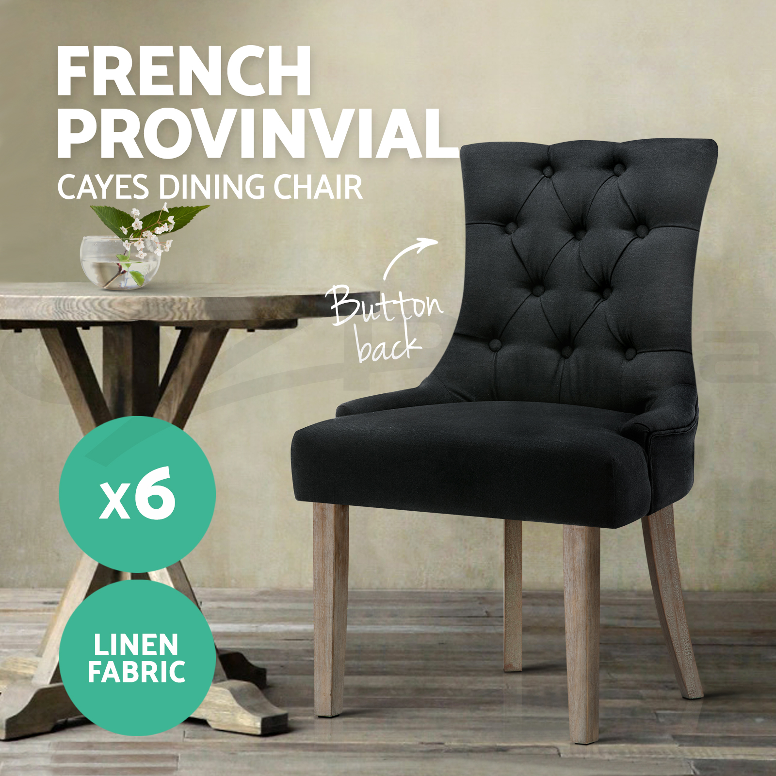 thumbnail 20 - Artiss Dining Chairs Fabric French Provincial Chair Wooden Kitchen Cafe x1/2/4/6
