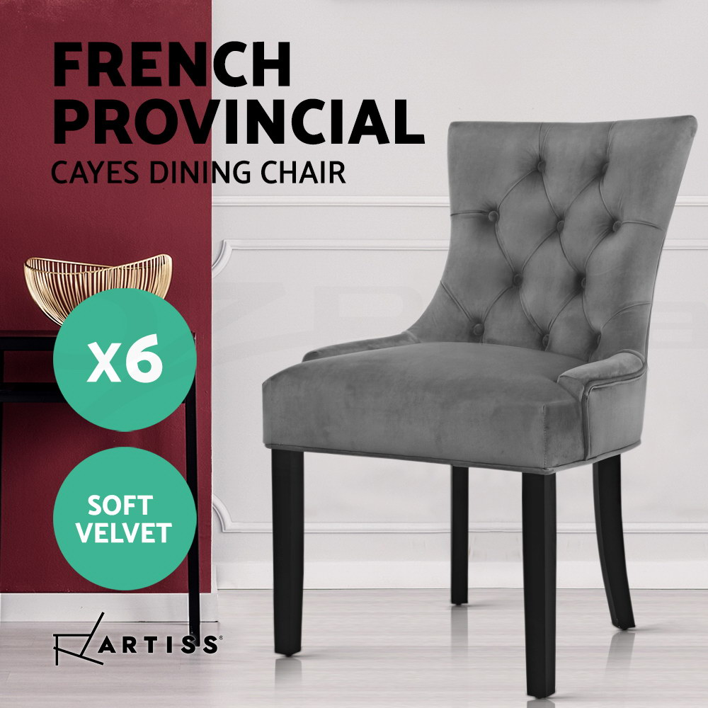 thumbnail 31 - Artiss Dining Chairs Fabric French Provincial Chair Wooden Kitchen Cafe x1/2/4/6