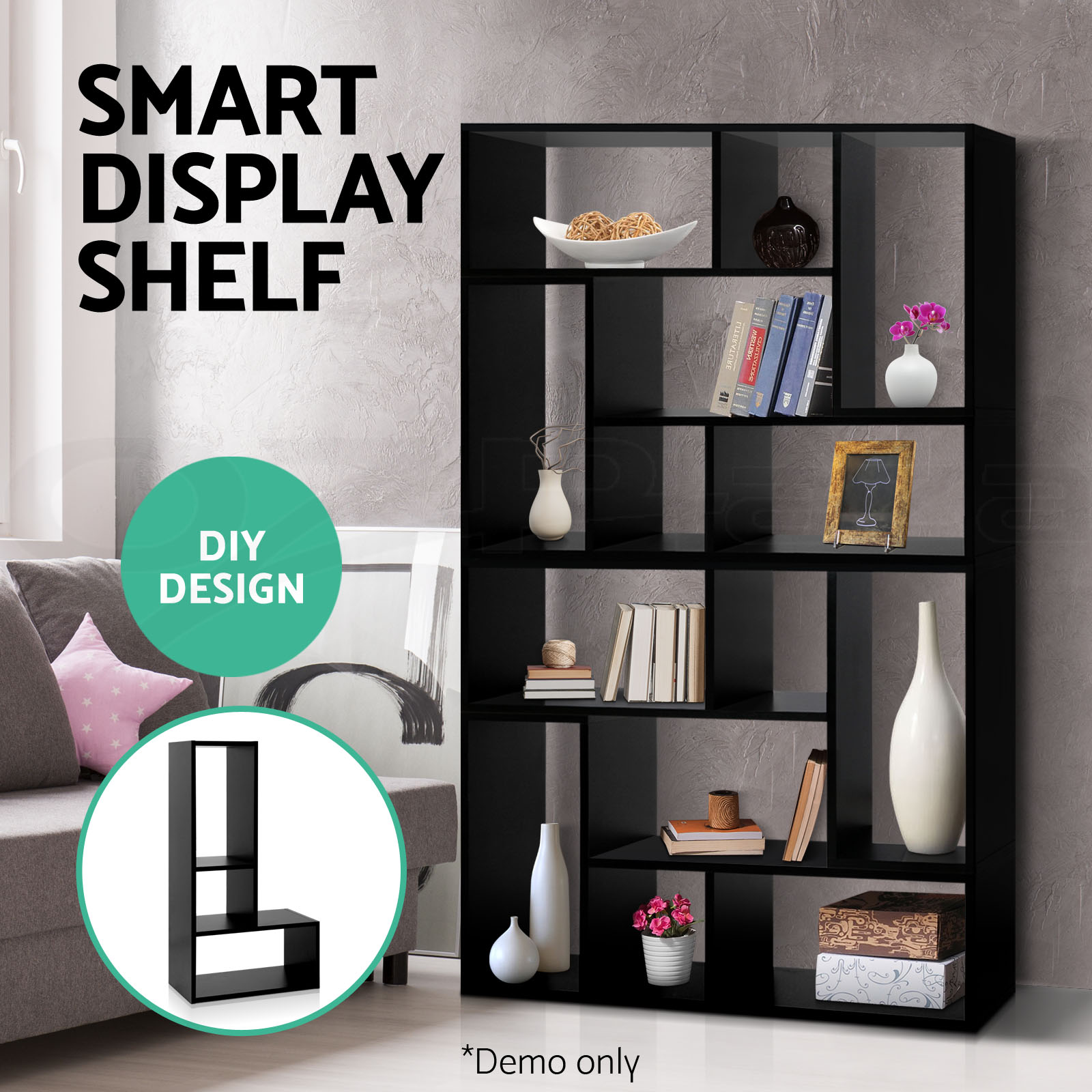 Display-L-Shape-Cube-Shelf-DIY-Sidetable-Cabinet-Storage-Corner-Bookshelf-Ladder
