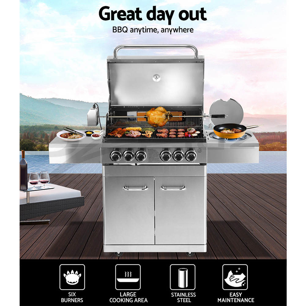 Grizze-Outdoor-Kitchen-Gas-BBQ-4-5-6-Burner-Barbeque-Grill-Stainless-Steel-Stove thumbnail 14