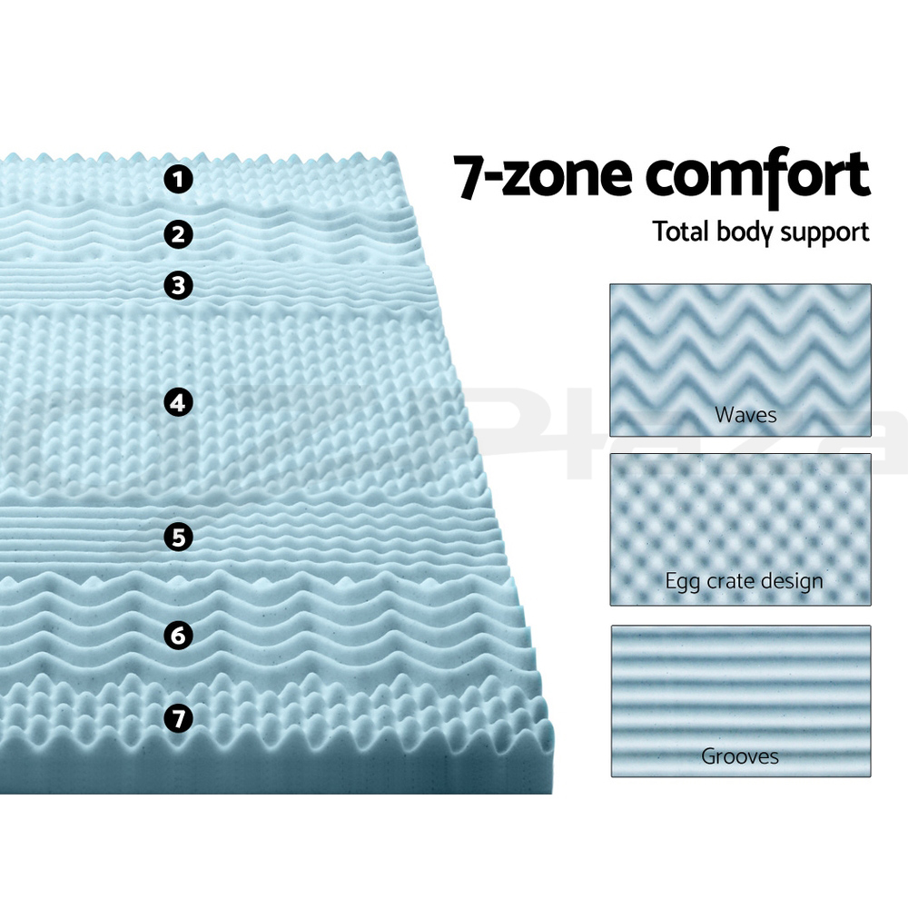 thumbnail 40 - Giselle-Memory-Foam-Mattress-Topper-COOL-GEL-Bed-BAMBOO-Protector-8CM-7-Zone