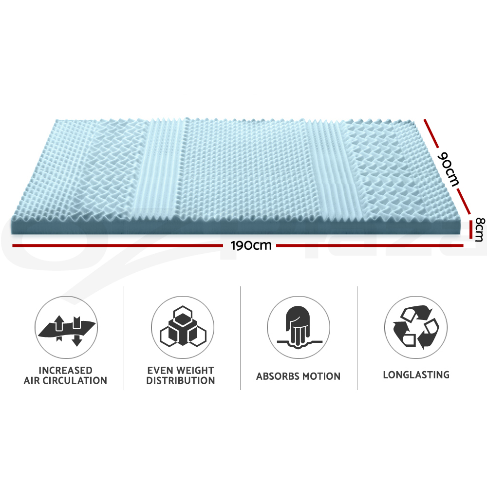thumbnail 50 - Giselle-Memory-Foam-Mattress-Topper-COOL-GEL-Bed-BAMBOO-Protector-8CM-7-Zone