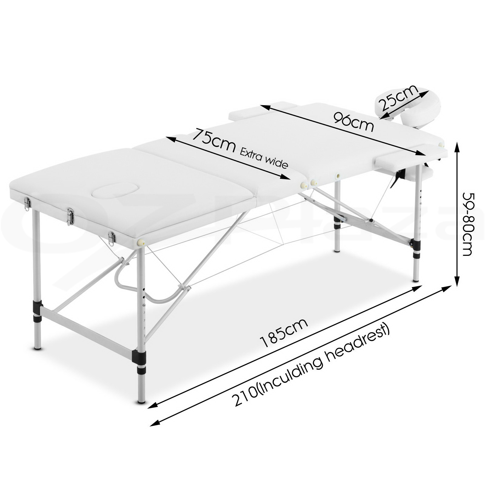 Zenses-Portable-Aluminium-Wooden-Massage-Table-3-Fold-Bed-Therapy-60-70-75-80