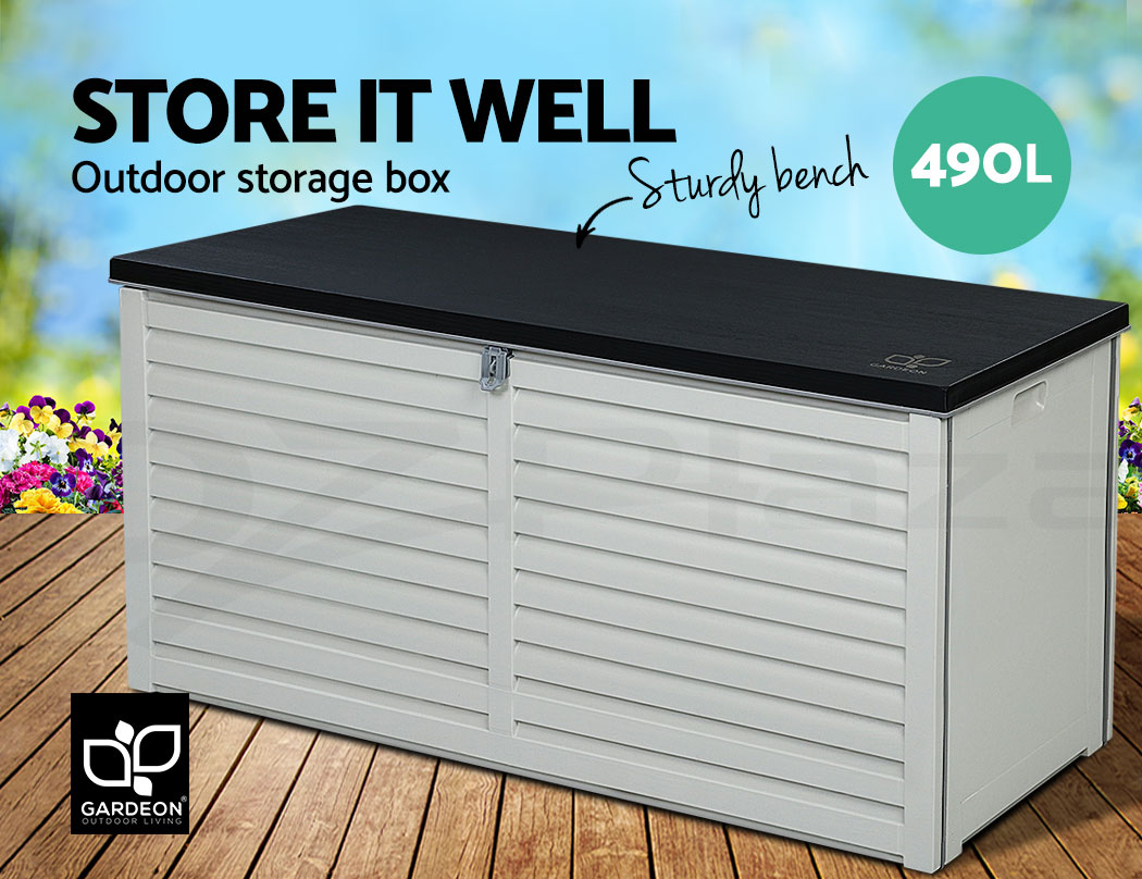 Picture of: Gardeon Outdoor Storage Box Bench Seat Indoor Toy Tool Sheds Chest Patio 490l Ebay
