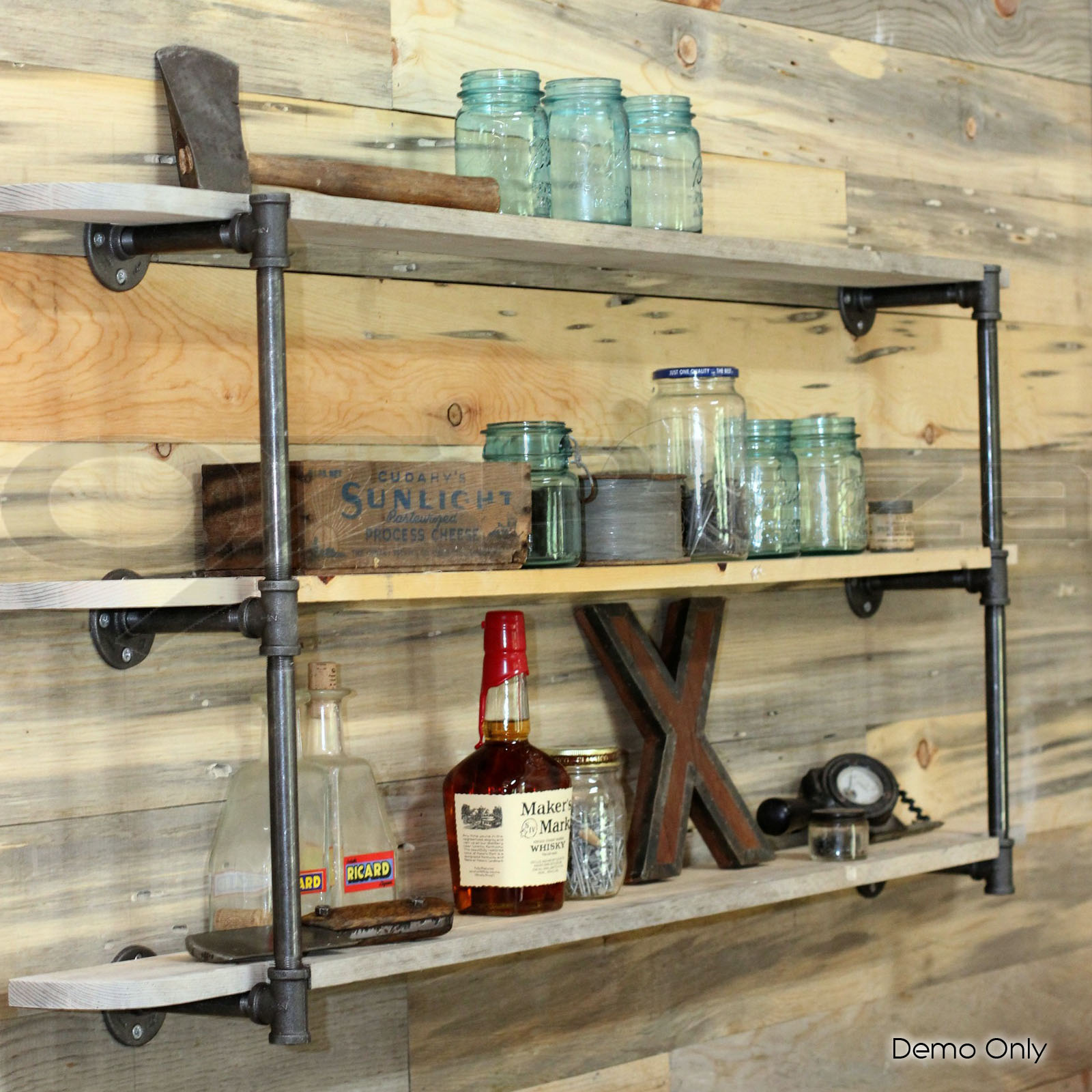 industrial wooden product solid with brackets metal shelf shelves x pine