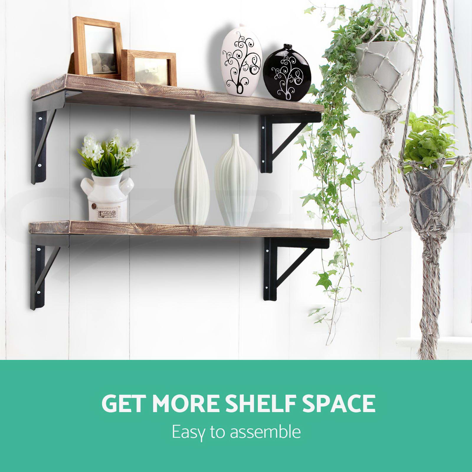 Artiss-Industrial-DIY-Pipe-Shelf-Display-Floating-Wall-Brackets-Rustic-Bookshelf thumbnail 24