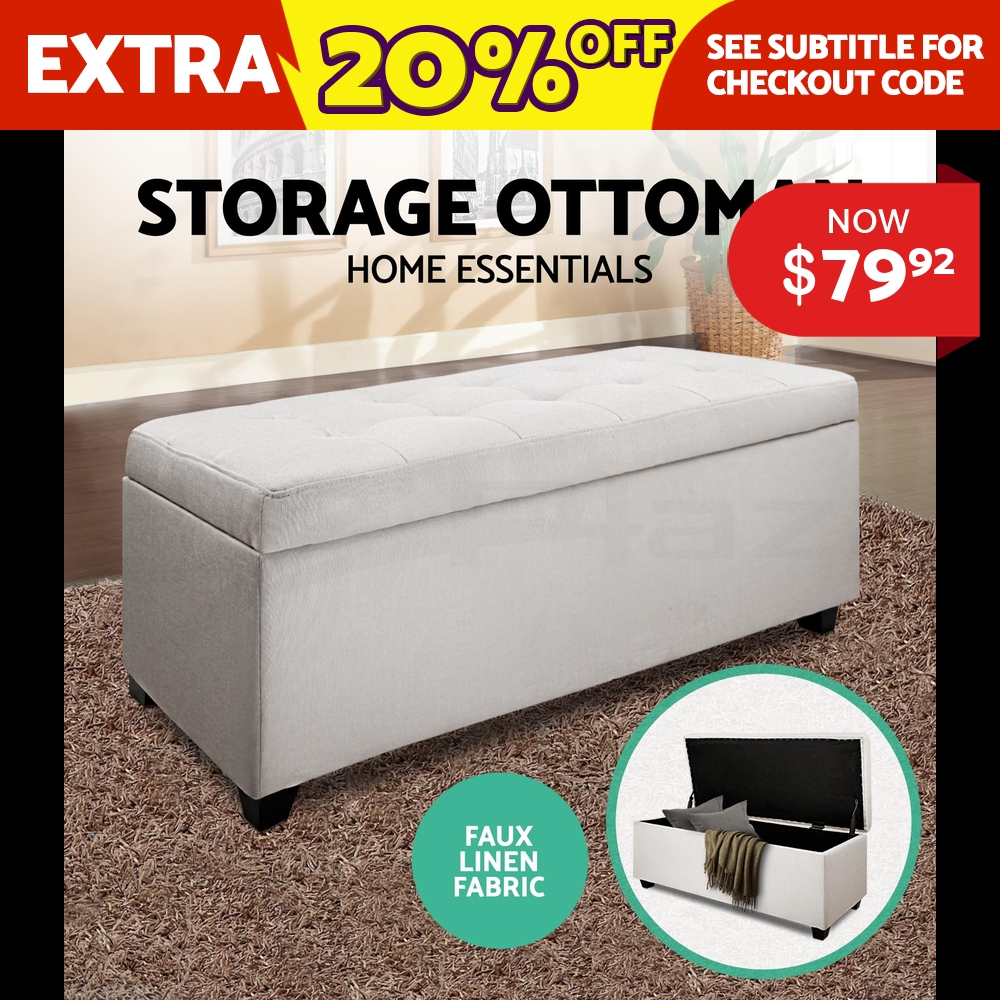 Blanket-Box-Ottoman-Storage-Linen-Fabric-Foot-Stool-Chest-Toy-Bed-Large-Beige