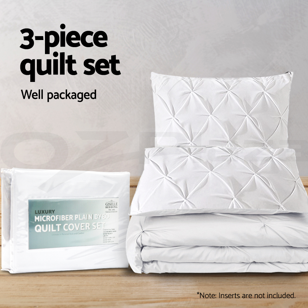 Giselle-Bedding-Pinch-Pleat-Diamond-Pintuck-Duvet-Doona-Quilt-Cover-Set-All-Size thumbnail 148