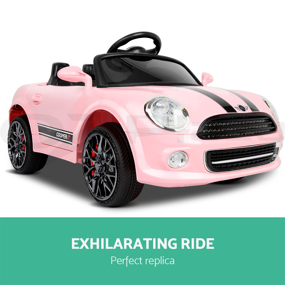 kids electric ride on car mini cooper inspired electric toy battery pink beige ebay. Black Bedroom Furniture Sets. Home Design Ideas