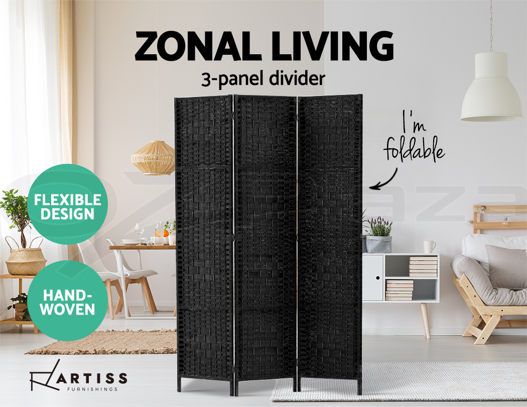 Remarkable Details About Artiss 3 Panel Room Divider Screen Privacy Rattan Dividers Stand Fold Wove Black Download Free Architecture Designs Viewormadebymaigaardcom