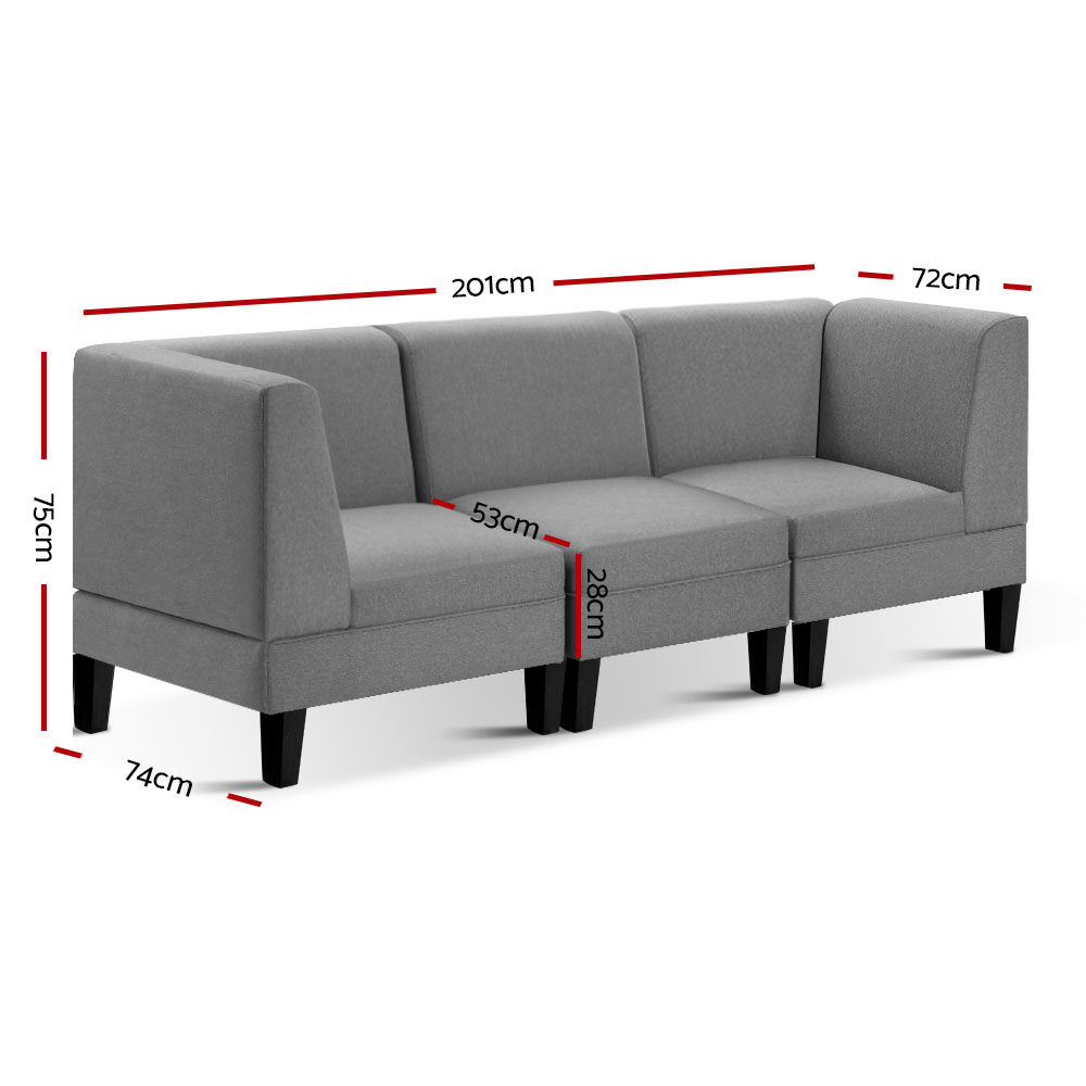 Artiss Modular Sofa Lounge Set 1 2 3 4 5 Seater Chaise