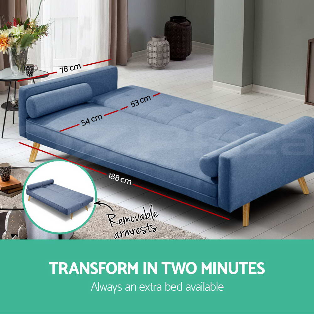 3 seater fabric sofa bed linen modular lounge suite futon for 3 seater couch with chaise