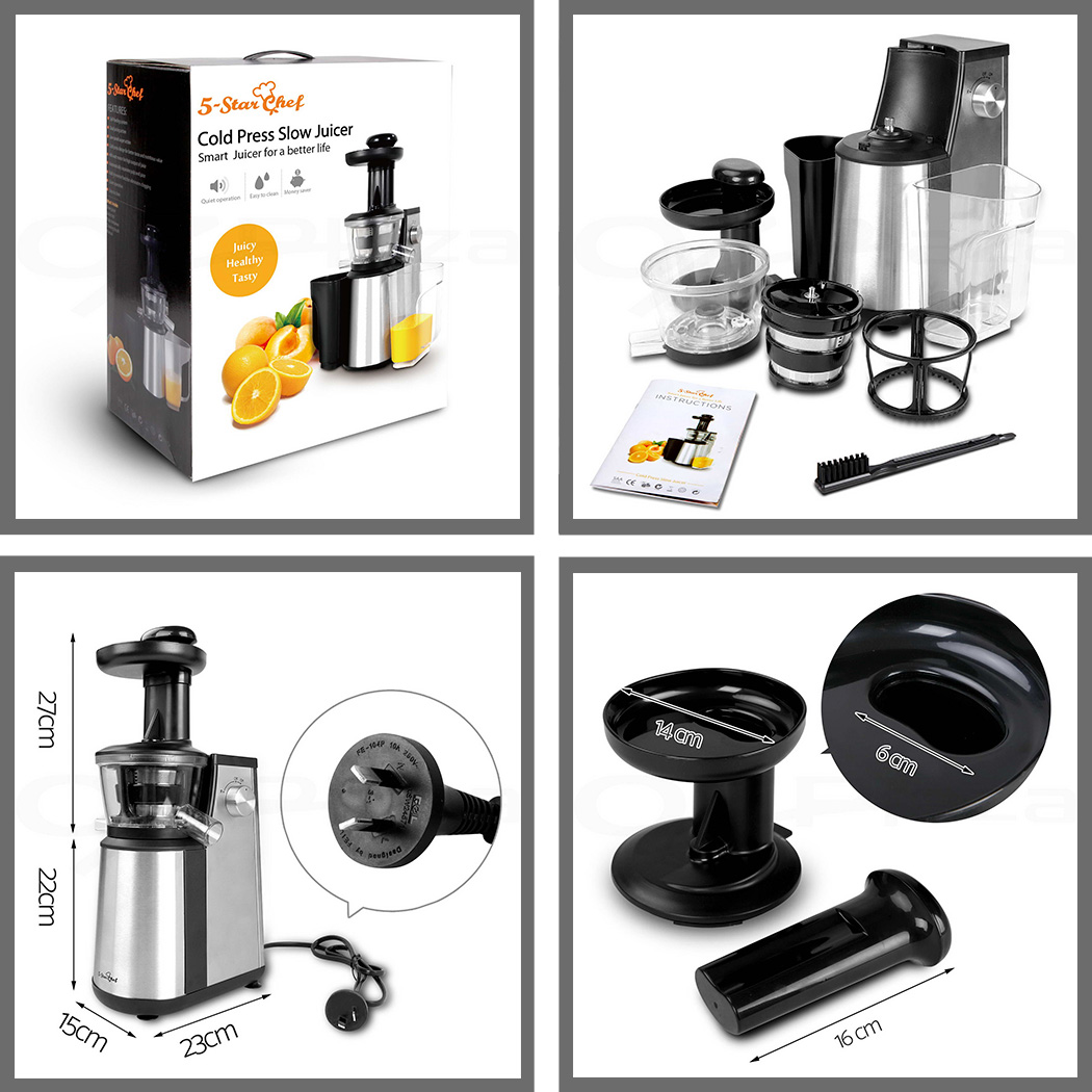 5 Star Chef Cold Press Slow Juicer Fruit vegetable Stainless Steel Processor
