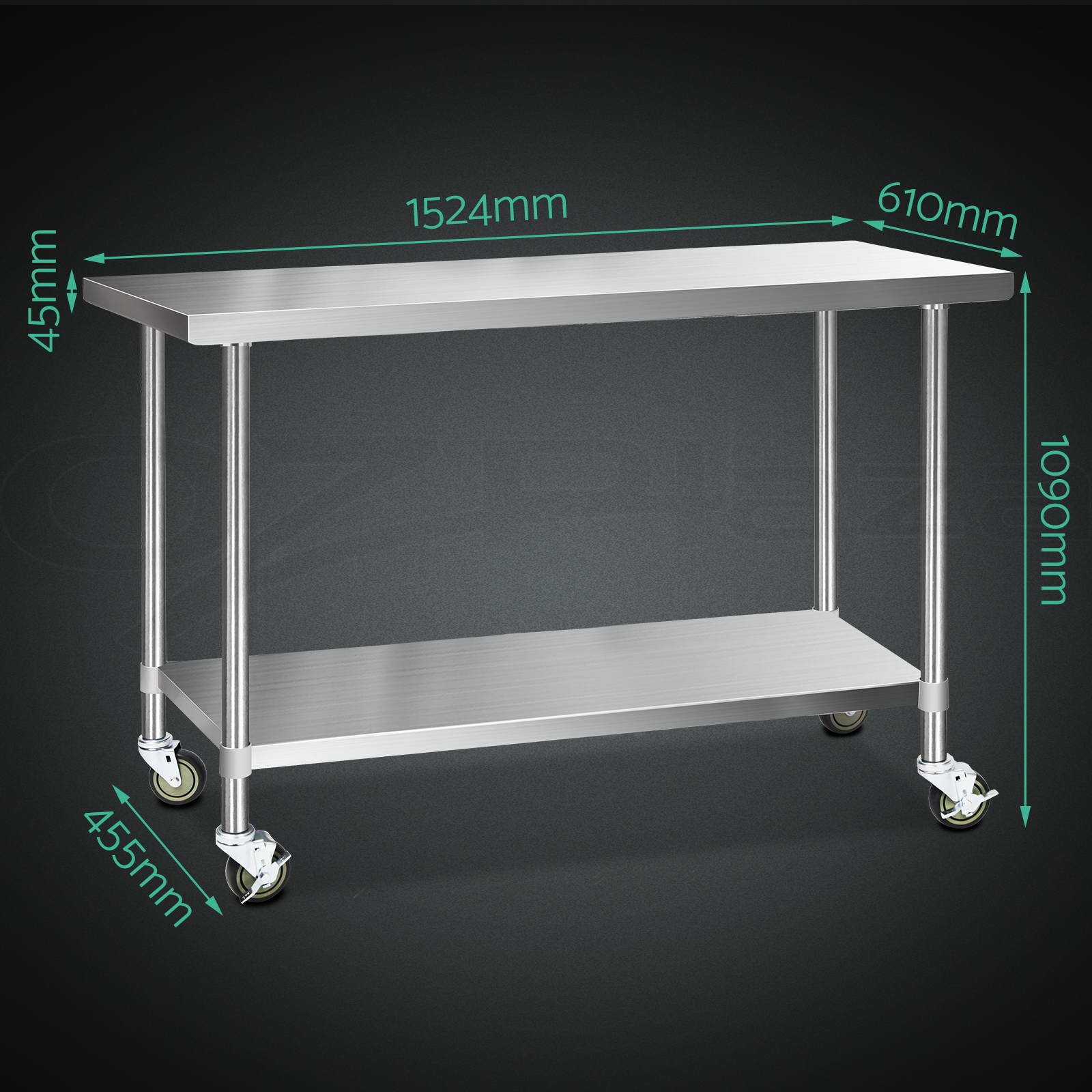 thumbnail 17 - Cefito 304 Stainless Steel Kitchen Bench Commercial Work Food Prep Table Wheels