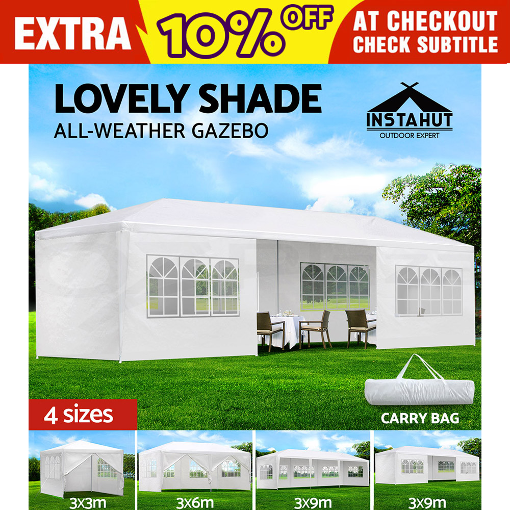 Gazebo-Party-Wedding-Marquee-Event-Pavilion-Tent-Shade-Canopy-Camping-White