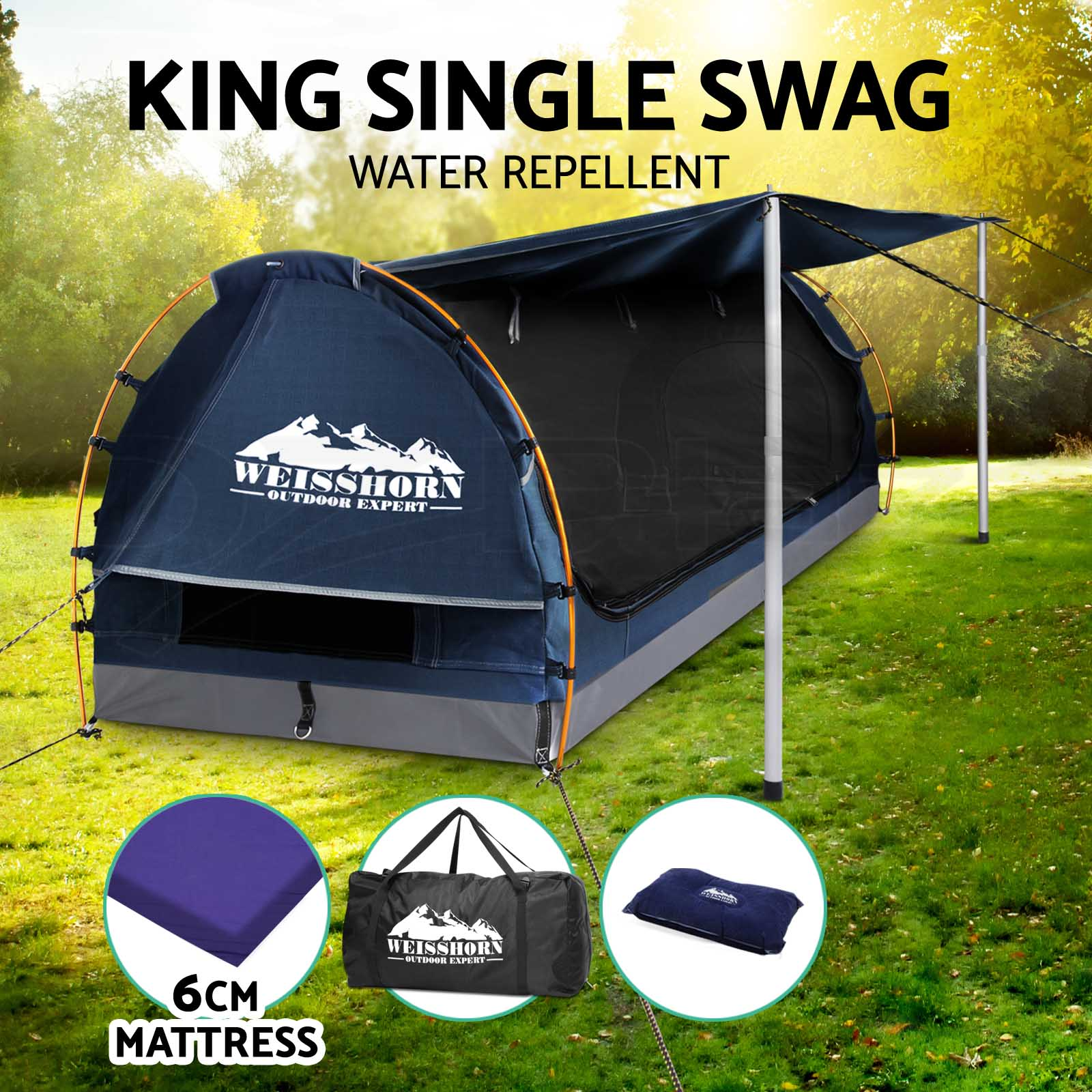 Weisshorn-Double-King-Single-Camping-Swags-Canvas-Free-Standing-Dome-Tent-Bag