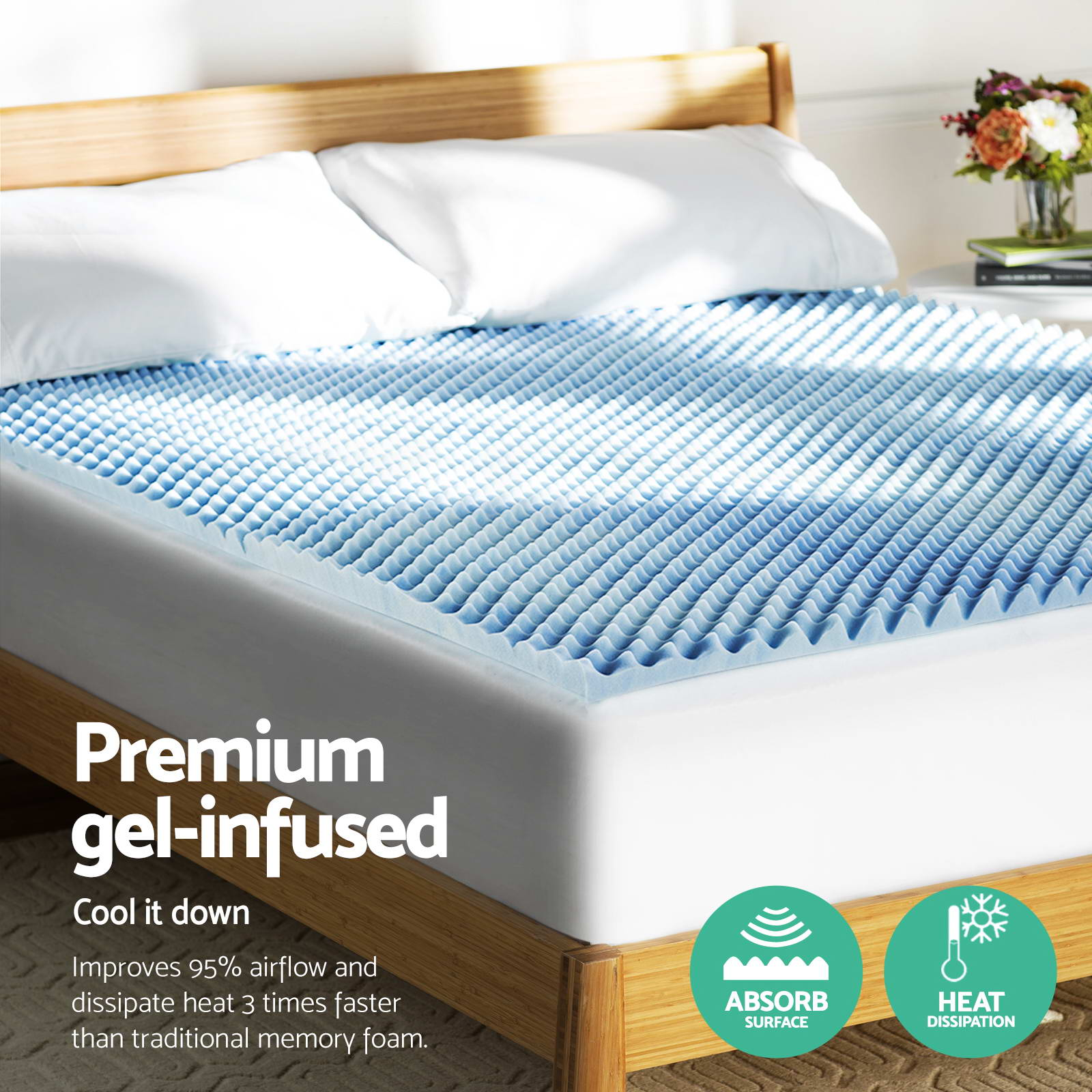 Giselle Bedding Cool Gel Egg Crate Memory Foam Mattress